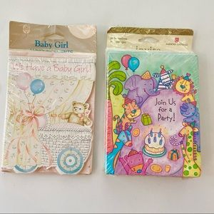 Vintage Baby Girl Announcements & Kids Party Cards